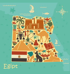 Map of egypt with traditional symbols vector