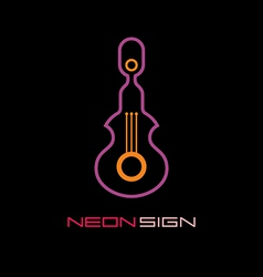 Neon sign guitar vector