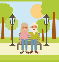 Old man grandpa and grandma sitting in bench the vector