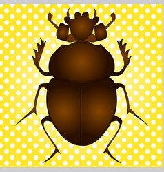 Pop art egyptian scarab beetle brown vector