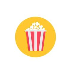 Popcorn Cinema round circle icon in flat design vector image vector image