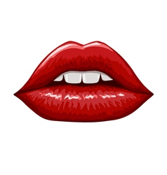 Red lips on white background Hand drawn vector image vector image