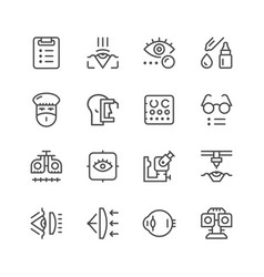 Set line icons of ophthalmology vector