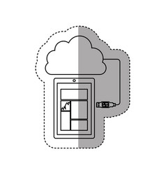 Sticker contour tech smartphone cloud storage vector