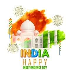 Taj mahal with tricolor india grunge vector