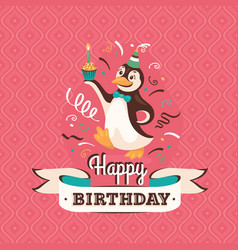 Vintage birthday greeting card with a penguin vector