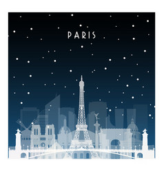 winter night in paris night city in flat style vector image vector image