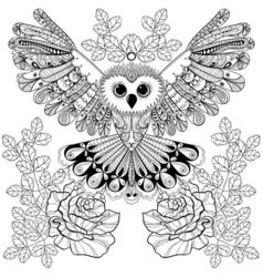 Zentangle stylized Black Owl with rose for adult vector image