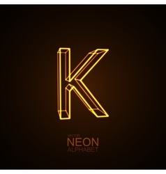 Neon 3d letter k vector