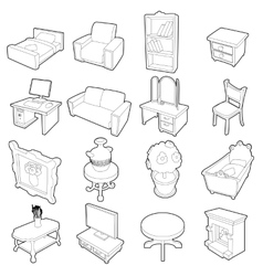 Different furniture icons set outline style vector