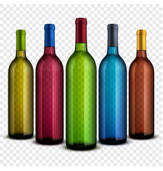Realistic transparent glass wine bottles isolated vector