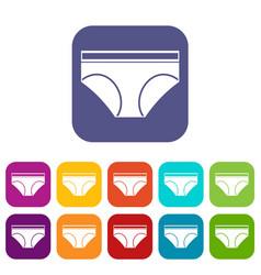 Woman underwear panties icons set flat vector