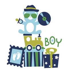 Baby shower for boy composition vector