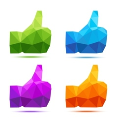 Set of bright colorful geometric thumb up icons vector