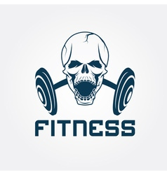 Aggressive skull and barbell fitness emblem vector
