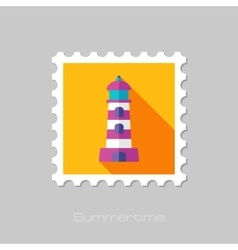 Lighthouse flat stamp with long shadow vector