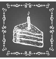 Chalk birthday cake and vintage frame vector