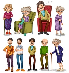 Old men and women in different actions vector
