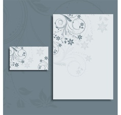 Floral letterhead and business card vector