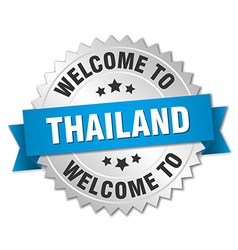 Thailand 3d silver badge with blue ribbon vector