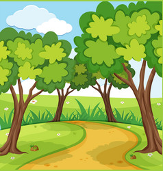 background scene with trees in the park vector image