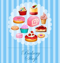 Banner design with different kind of desserts vector image vector image