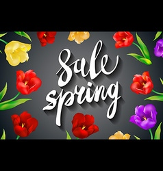 Beautiful spring sale design on a black background vector image