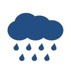 Blue cloud with falling rain isolated over vector