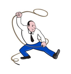 Businessman holding lasso rope vector