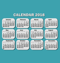 calendar 2018 year week starts from monday vector image vector image