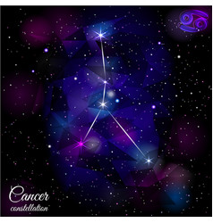Cancer constellation with triangular background vector