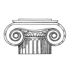 Capital of column engraving style vector
