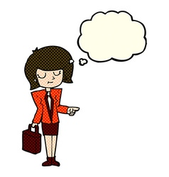 Cartoon businesswoman pointing with thought bubble vector