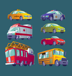 Cartoon set of isolated icons of urban transport vector