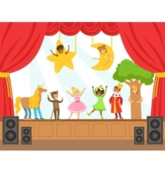 Children actors performing fairy-tale on stage on vector