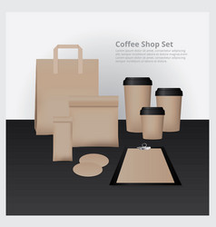Coffee shop set mock up vector