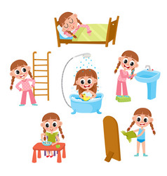Daily morning routine set cartoon little girl vector