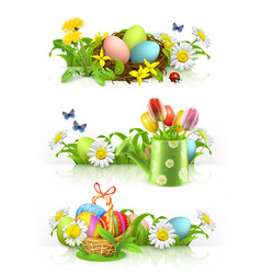 Easter spring flowers 3d banner set vector