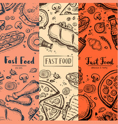 Fast food menu card set with hand drawn doodles vector