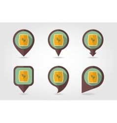 Fertilizer flat mapping pin icon with long shadow vector