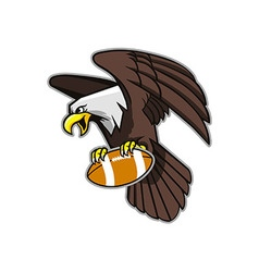 Flying bald eagle grab football vector