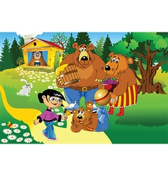 Girl and the three bears vector image