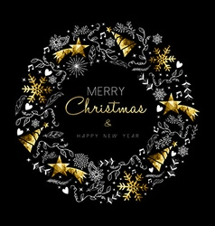 Gold Christmas and New Year wreath decoration vector image