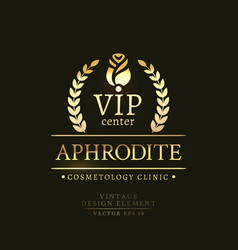 Gold retro badge of the vip center vector
