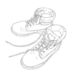 Hand drawn sketch with army boots vector