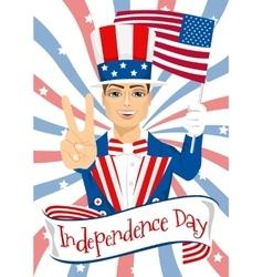 handsome man celebrating independence day vector image