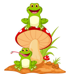 happy frog cartoon sitting on mushroom vector image