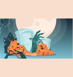 happy halloween party banner pumpkins on cemetery vector image