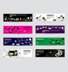 horizontal carnival web banner masks celebration vector image