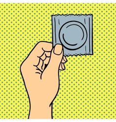 Human hand holding condom vector